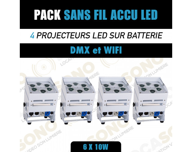 location pack de 4 projecteur led batterie