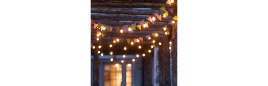 location de guirlande à ampoule blanche pour jardin et fêtes d'extérie